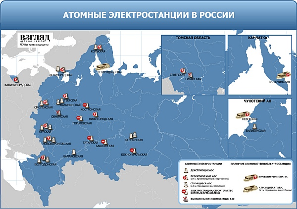 карта атомных станций