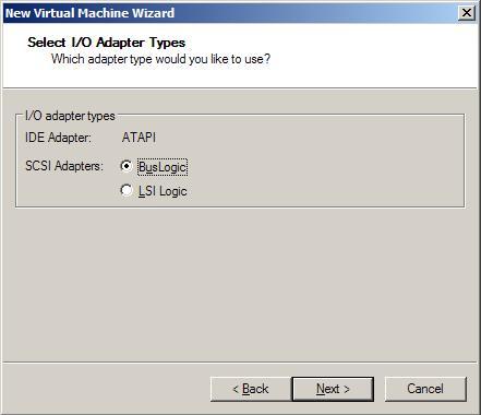 Выбор SCSI-адаптера для виртуальной машины