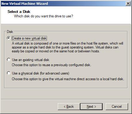 Варианты создания диска виртуальной машины