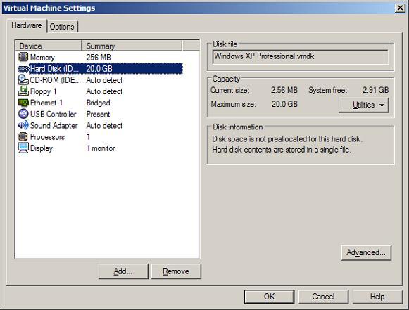 Свойства виртуального диска