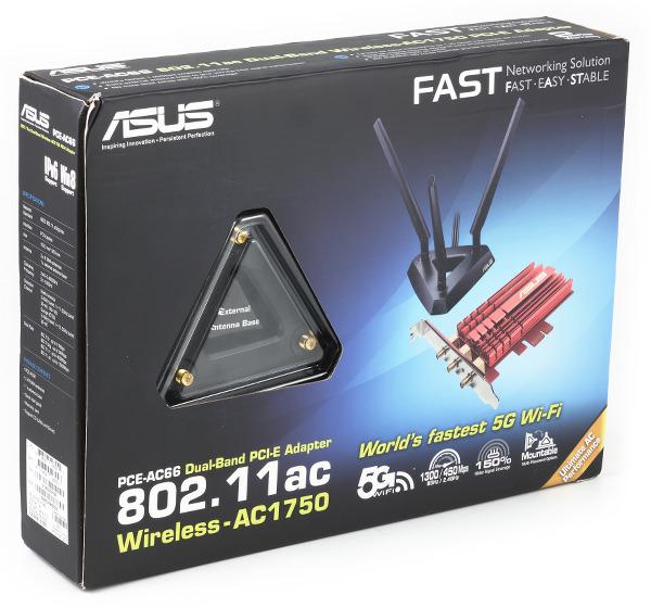 Упаковка беспроводного адаптера ASUS PCE-AC66