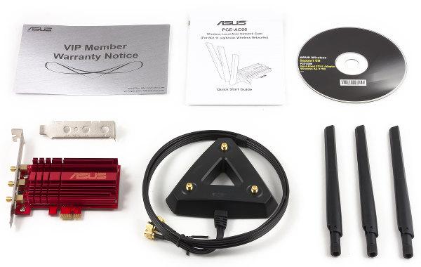 Комплект поставки беспроводного адаптера ASUS PCE-AC66