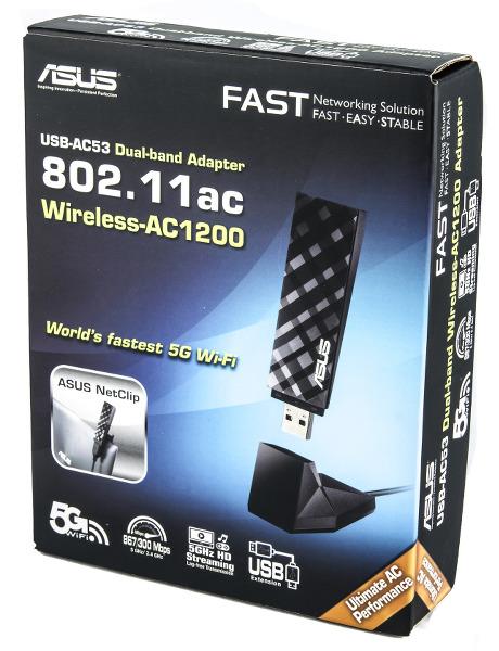 Упаковка беспроводного адаптера ASUS USB-AC53