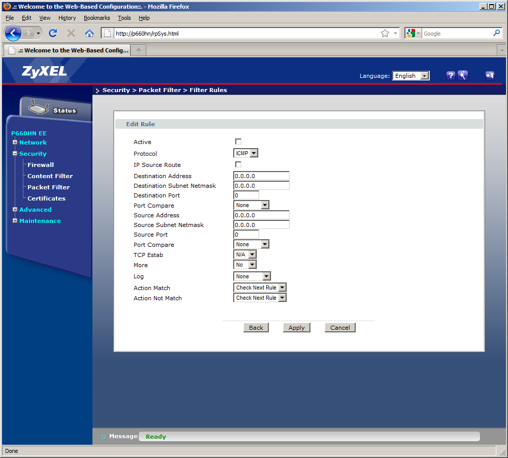 Интернет-центр ZyXEL P660HN EE