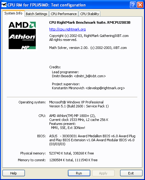Cpu Rightmark Objective Performance Benchmark For Modern And Future Cpus