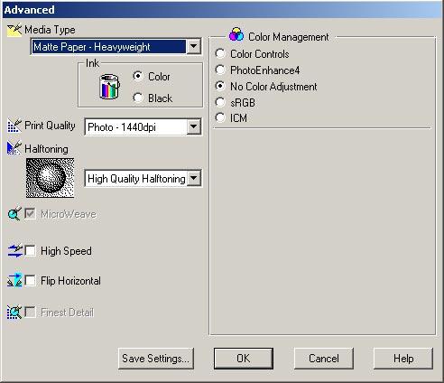 Настройки драйвера принтера для печати с профилем