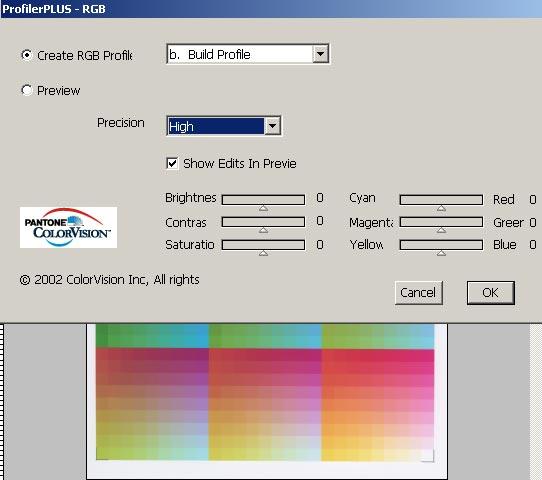 Построение профиля с помощью Panton ProfilerPlus