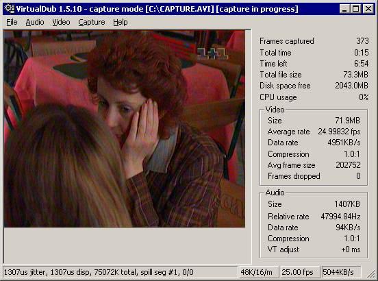 VirtualDub - режим захвата видео