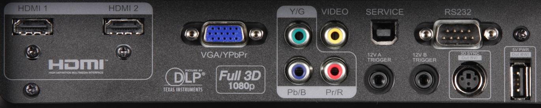 Проектор оснащен шестью видеовходами: пара hdmi, vga, компонентный, s-video и композитный видеовходыvga-разъем (mini
