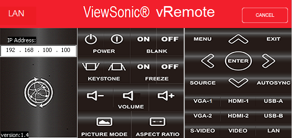 DLP-проектор ViewSonic LS830, vRemote