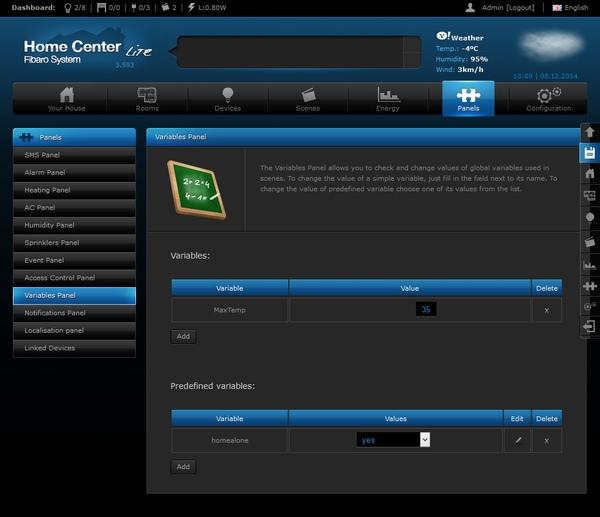 Интерфейс настройки Fibaro Home Center Lite