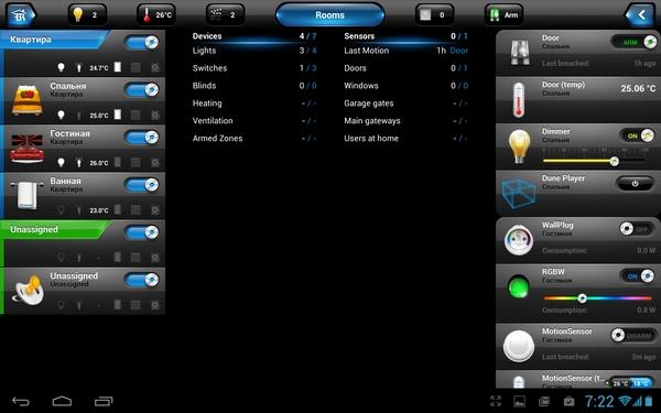 Интерфейс управления Fibaro Home Center Lite на планшете с Android