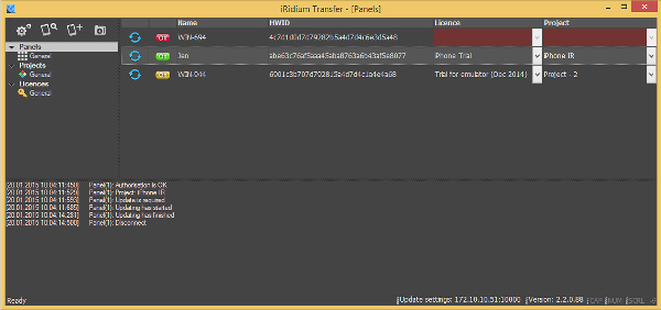 Загрузка проекта на панель iRidium