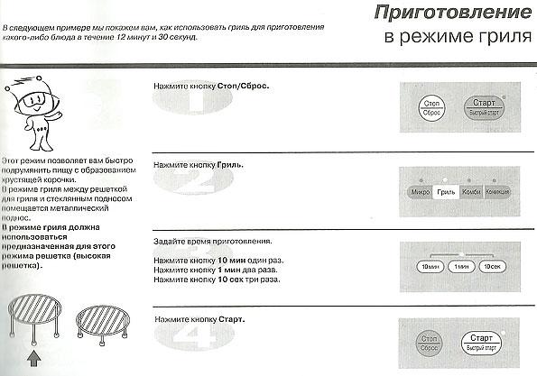 инструкция по грилю в микроволновке