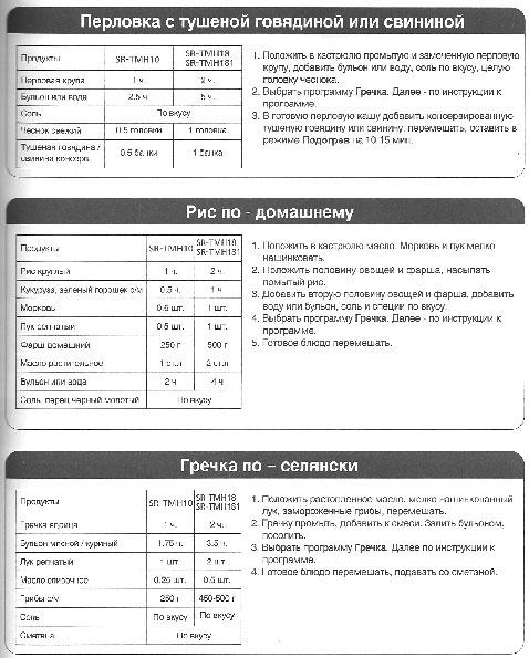 рисовая каша в мультиварке панасоник sr tmh18 рецепты