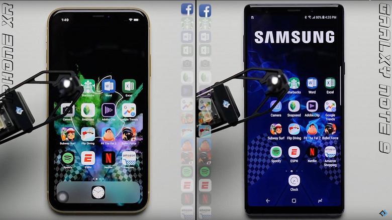3213224811 На канале YouTube под названием PhoneBuff провели тест на быстродействие,  сравнив iPhone XR с флагманским смартфоном Samsung Note9.
