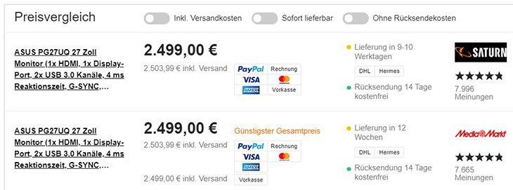 Asus ROG Swift PG27UQ, цена в Германии
