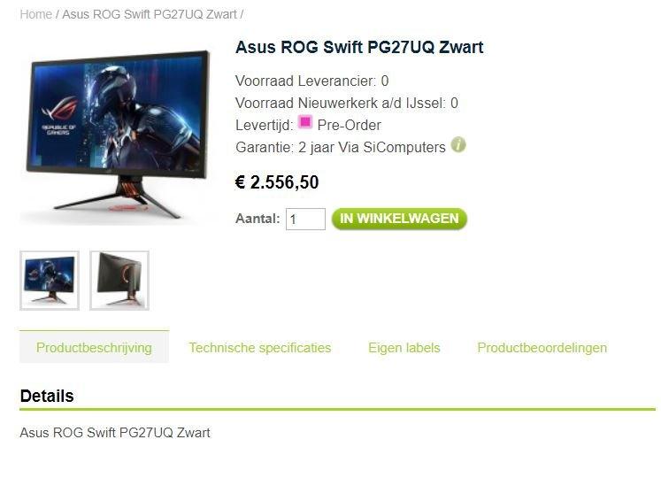 Asus ROG Swift PG27UQ, цена в Нидерландах