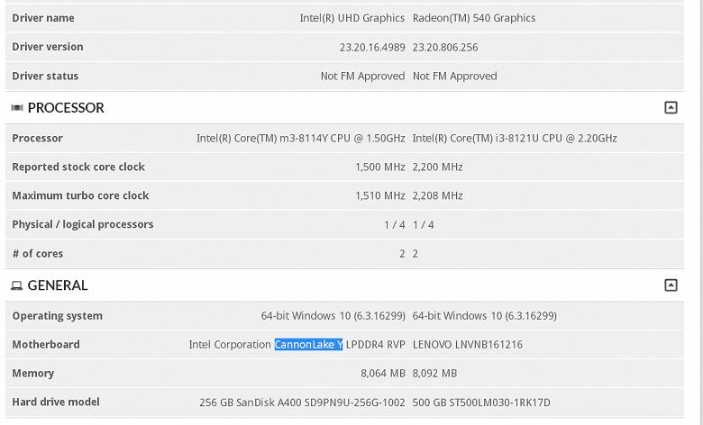 Core m3-8114Y может оказаться вторым серийным процессором в семействе Cannon Lake