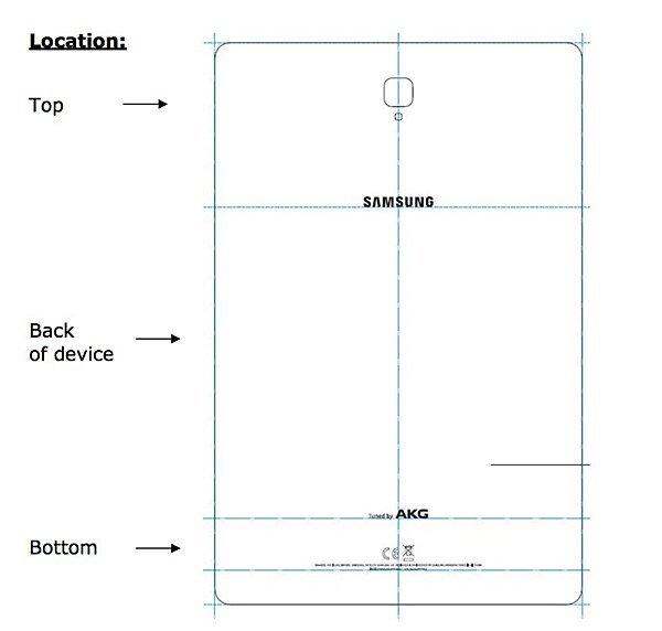 Эскиз Samsung Galaxy Tab S4 демонстрирует габариты и дизайн задней панели