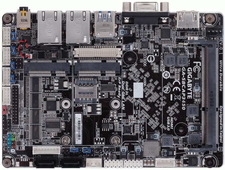 Gigabyte GA-SBCAP3450 — системная плата с распаянным CPU Celeron N3450