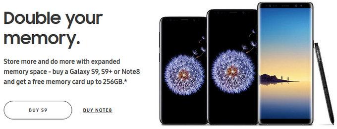 Samsung пытается подстегнуть продажи Galaxy S9, предлагая покупателям вдвое больше памяти