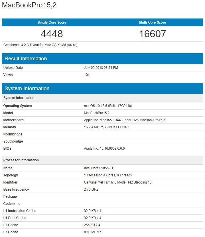 В Geekbench засветился 15-дюймовый MacBook Pro нового поколения
