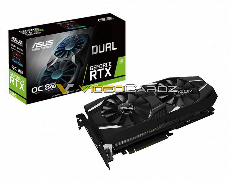 3D-карта Asus GeForce RTX 2080 Dual обходится двумя вентиляторами, а Asus GeForce RTX 2080 Turbo — одним