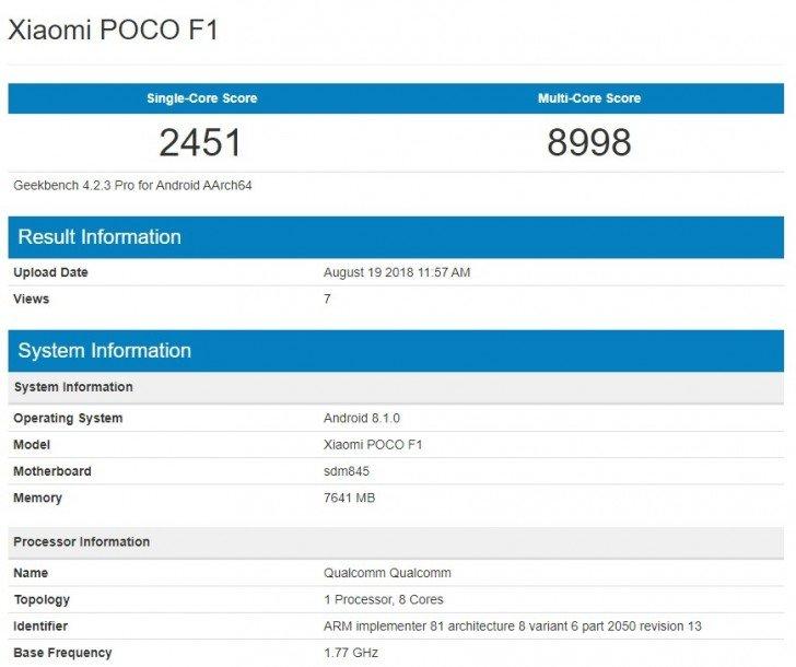 В тесте Geekbench замечен смартфон Xiaomi Pocophone F1 с 8 ГБ ОЗУ