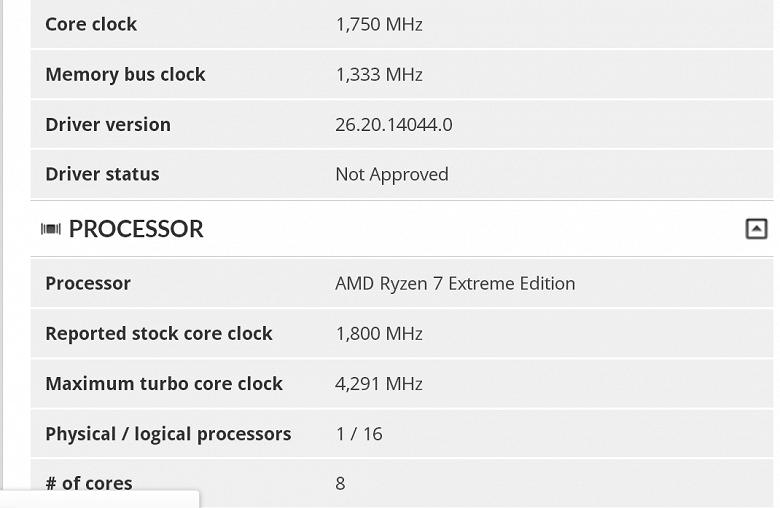 В базе теста Futuremark замечен процессор AMD Ryzen 7 Extreme Edition