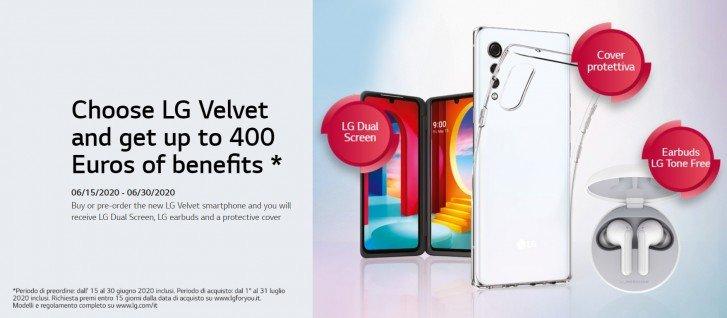 Покупатели LG Velvet 5G в Европе получают бонусы  на 400 евро