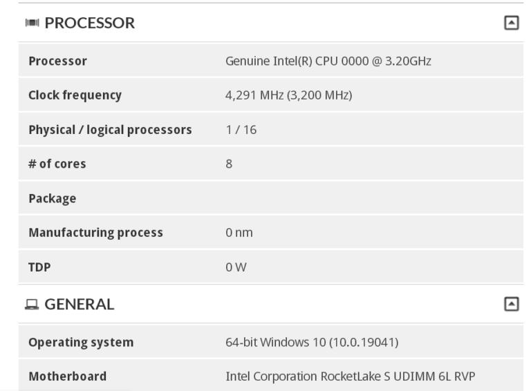 8 ядер и 4,3 ГГц. Процессор Intel линейки Rocket Lake-S засветился в 3DMark