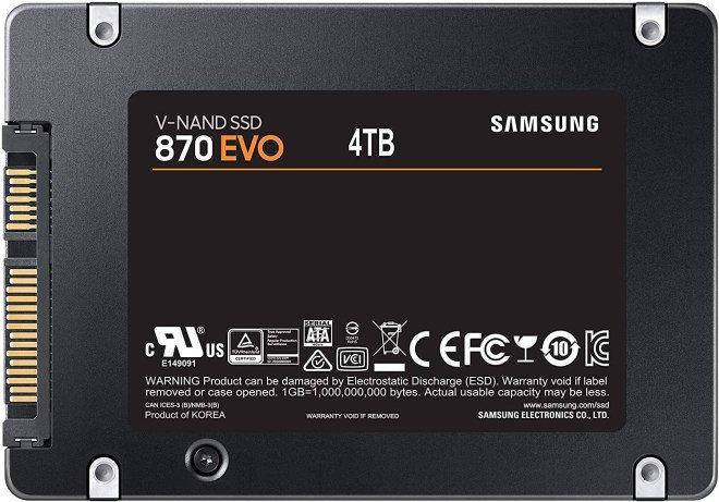 Твердотельные накопители Samsung SSD 870 Evo с интерфейсом SATA выпускаются объемом до 4 ТБ