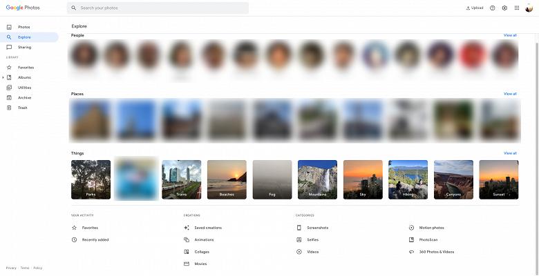 Компьютерная версия Google Photos позаимствовала особенности мобильной