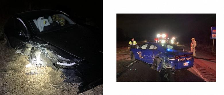 Tesla на автопилоте врезалась в полицейскую машину