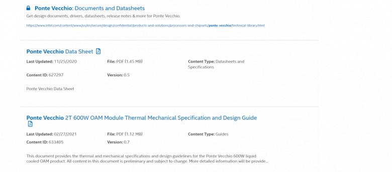 Энергопотребление GPU Intel Ponte Vecchio достигает 500-600 Вт