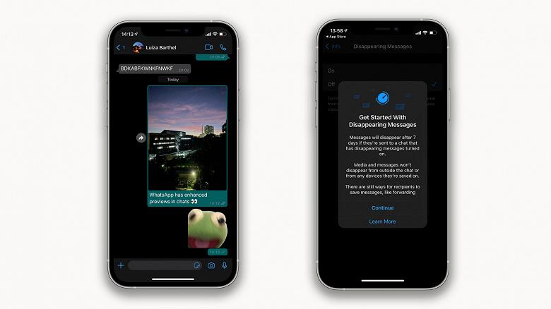 WhatsApp улучшили для iPhone. Изменения коснулись превью фото и видео, а также исчезающих сообщений