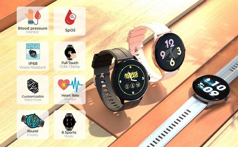Представлены очень доступные часы с функцией замера артериального давления, IP68 и SpO2