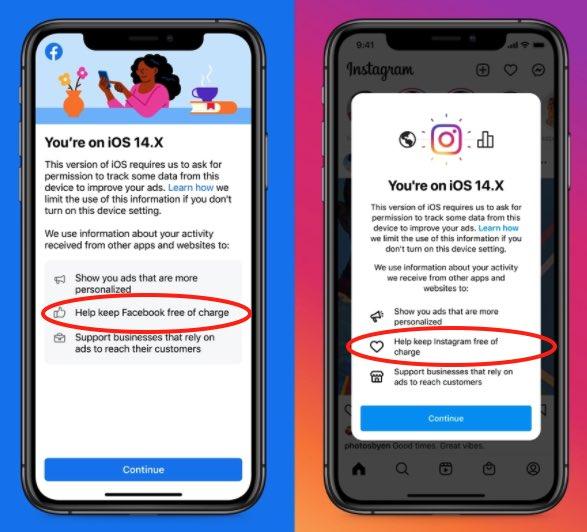Facebook и Instagram запугивают пользователей iPhone, чтобы те разрешили слежку