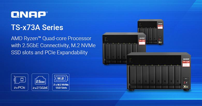 Хранилища с сетевым подключением Qnap TS-x73A на процессорах AMD Ryzen оснащены портами 2.5GbE