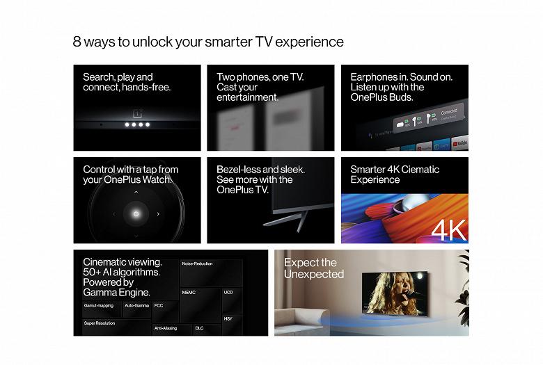 Диагональ до 65 дюймов, 4К, 30 Вт звука, настроенного специалистами Dynaudio, и NFC. Это телевизоры OnePlus U1S