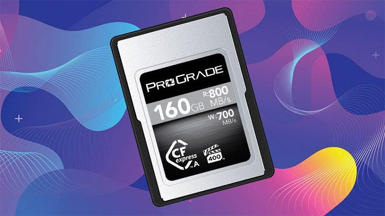 Компания ProGrade представила карту памяти CFexpress Type A объёмом 160 ГБ, которая заметно дешевле подобной карты Sony