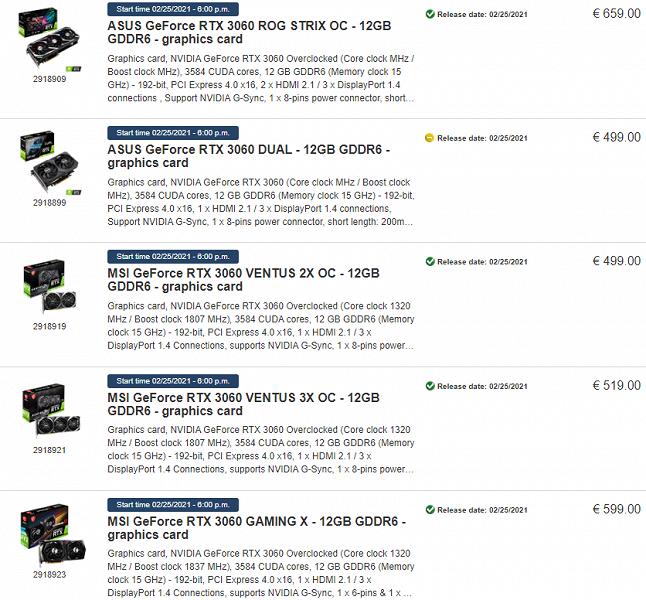 Стало понятно, сколько реально придётся заплатить за GeForce RTX 3060