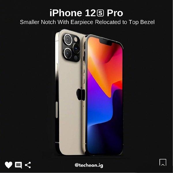 Так выглядит iPhone 12s Pro с уменьшенной чёлкой: опубликовано качественное изображение