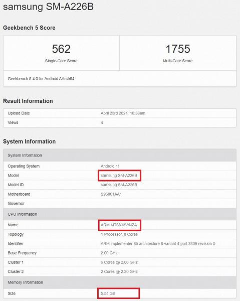 Раскрыты характеристики и стоимость Galaxy A22 5G  самого дешевого смартфона Samsung c поддержкой сетей пятого поколения