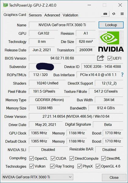 Нереференсная версия GeForce RTX 3080 Ti засветилась в GPU-Z. Максимальная частота на 45 МГц выше, чем у GeForce RTX 3080 Ti Founders Edition