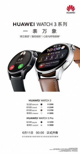 Экран AMOLED, сапфировое стекло, NFC, eSIM и HarmonyOS 2.0 по цене от 410 долларов. В Китае стартовали продажи умных часов Huawei Watch 3 и Watch 3 P