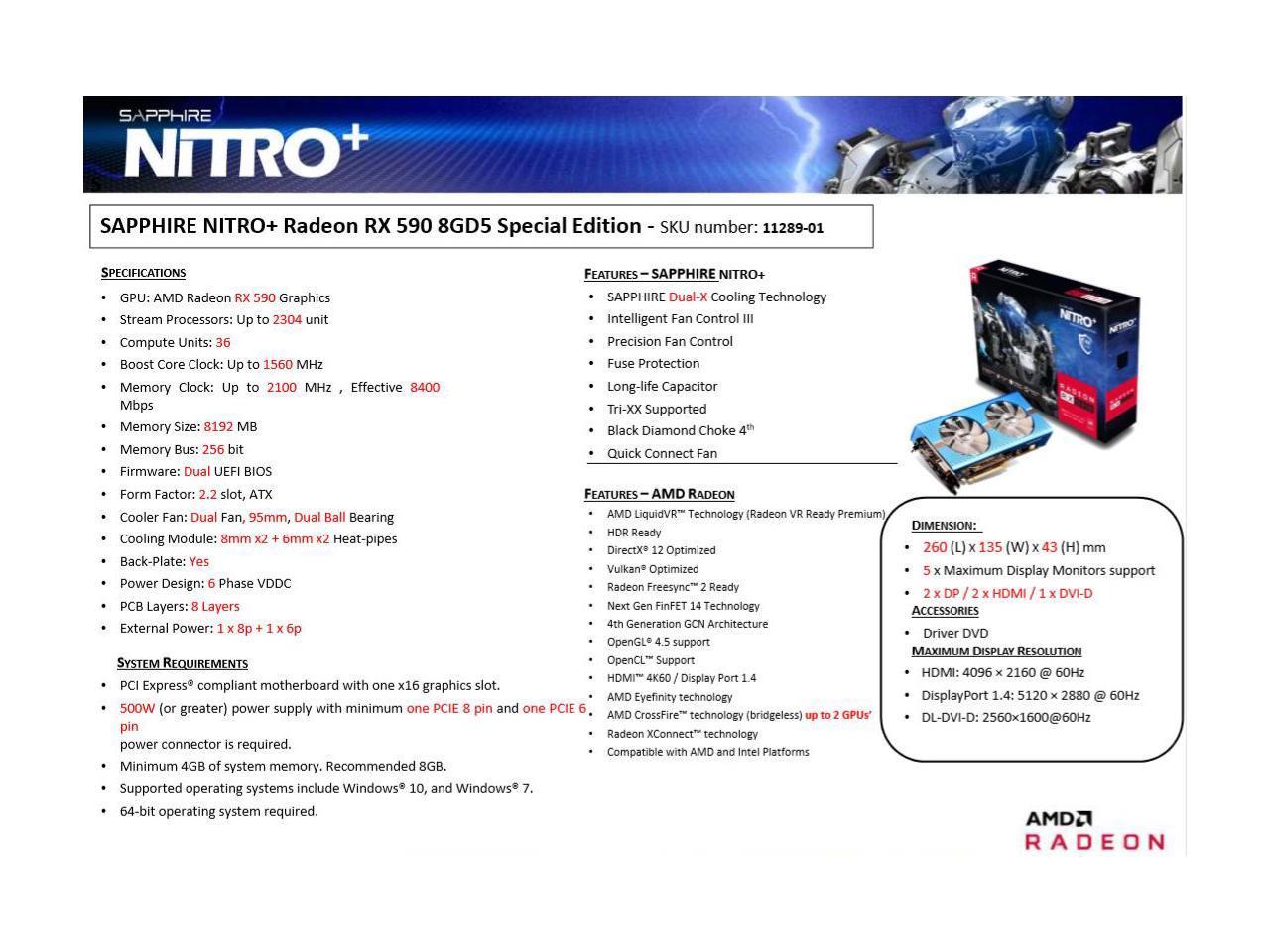 Появились фото видеокарты Sapphire RadeonRX 590 Nitro+ Special Edition