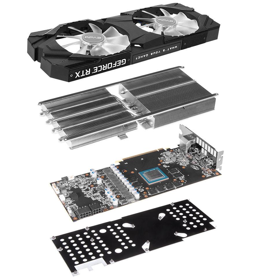 3D-карты KFA2 Ge Force RTX 2070 EX и RTX 2070 EXOC оснащены системами охлаждения с двумя 100-миллиметровыми вентиляторами
