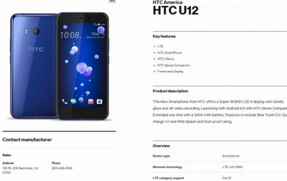 Verizon рассекретил характеристики флагмана HTC U12